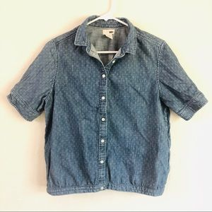 Levi's Denim Shortsleeved Button Down Top L